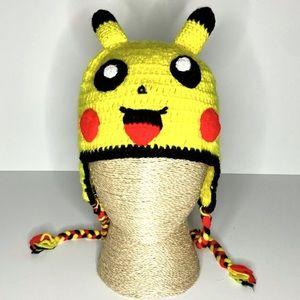 Knitted Pokémon Pikachu Yellow Flappy Beanie